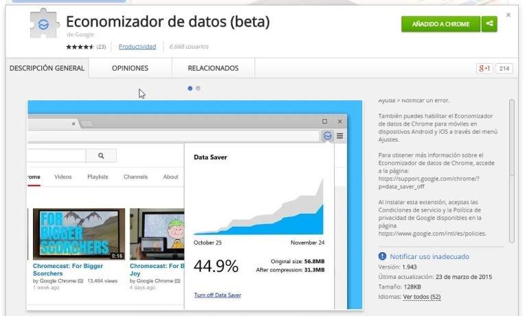 La extensión oficial de Google para ahorrar datos en Chrome llega al escritorio