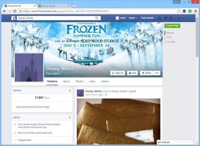 Una página falsa de Disney World en Facebook promete una tarjeta regalo de Visa
