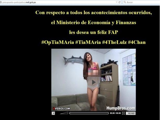 Tía María: Anonymous hackeó web del MEF con video pornográfico