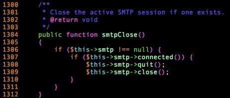 Método smtpClose de PHPMailer