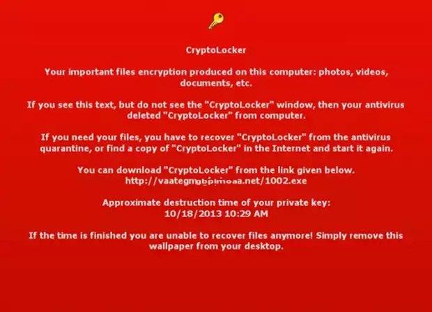Captura de pantalla con la amenaza de CryptoLocker