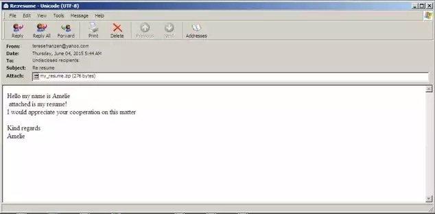 Envían una copia de CryptoWall como archivo adjunto en un correo electrónico