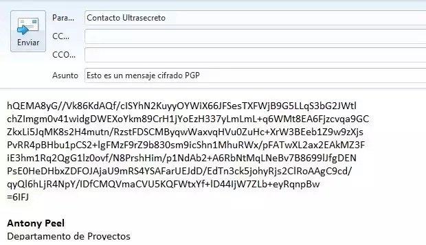 Email a enviar con mensaje cifrado con PGP