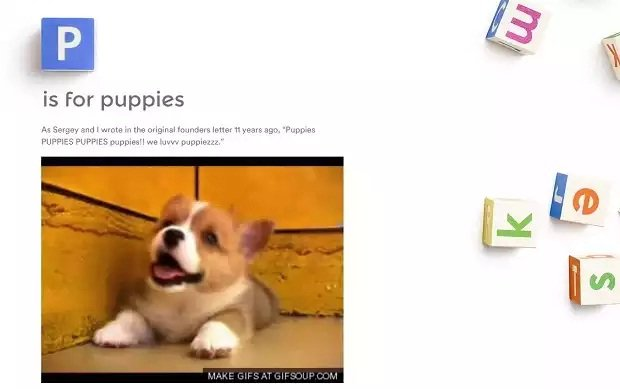 P is for Puppies, la imitación perruna de la página de Alphabet