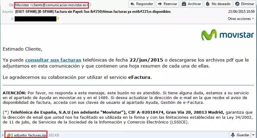 Nuevo envío de malware simulando correos de Movistar