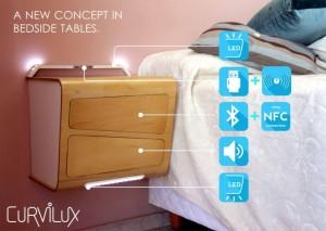 Curvilux, la primera mesilla inteligente con WiFi, Bluetooth, NFC cargador y más