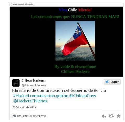 sitio web hackeado Ministerio boliviano