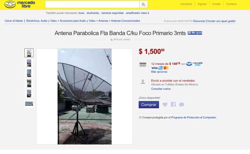Antena parabolica de 100 USD