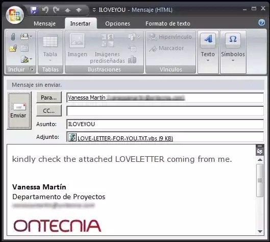Envío del virus ILoveYou a través de Microsoft Outlook