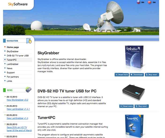 SkyGrabber Interceptar satélites