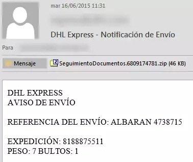 ¡Cuidado! Un correo falso de DHL Express contiene malware