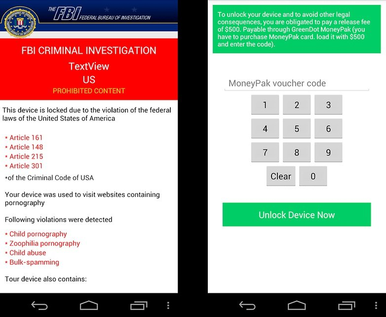Un ransomware para Android que pide hasta 500 $ para desbloquear el dispositivo. / © ANDROIDPIT / 2-Viruses