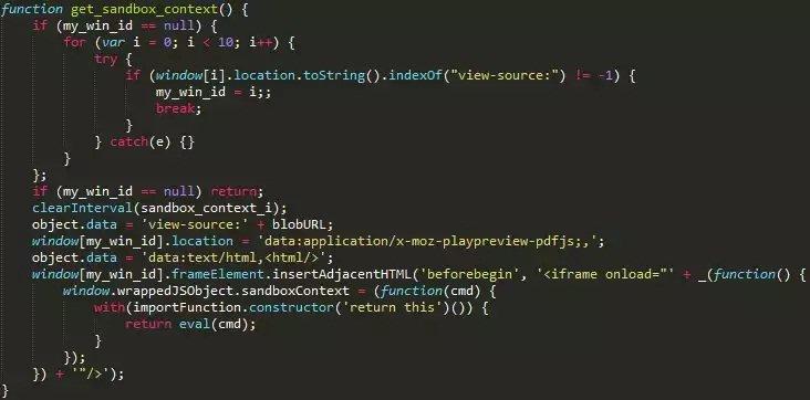 Código que crea la propiedad sandboxContext
