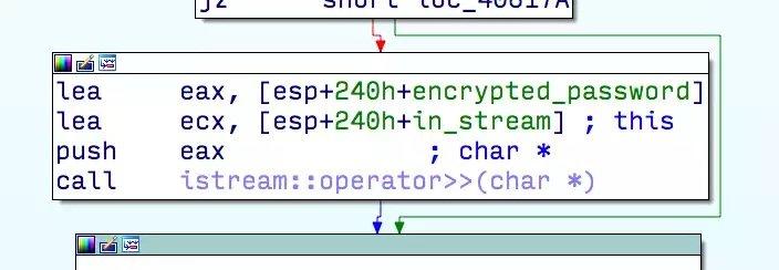 Llamada problemática a in_stream >> encrypted_password